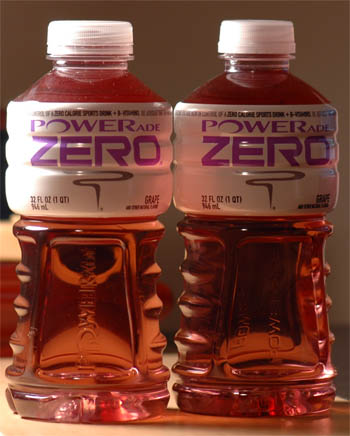 Powerade Zero Containers: Old on the left, new on the right